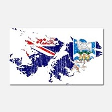 Falkland Islands Flag And Map Car Magnet 20 x 12