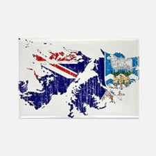 Falkland Islands Flag And Map Rectangle Magnet
