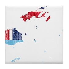 Fiji Flag And Map Tile Coaster