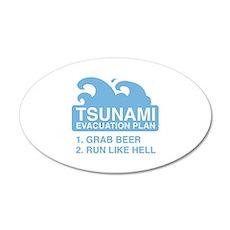 Tsunami Evacuation Plan 22x14 Oval Wall Peel