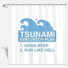 Tsunami Evacuation Plan Shower Curtain