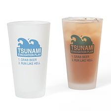 Tsunami Evacuation Plan Drinking Glass