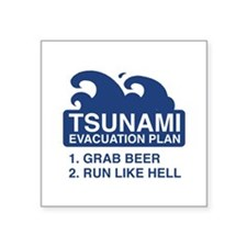 "Tsunami Evacuation Plan Square Sticker 3"" x 3"""