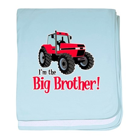 Red Tractor Im the Big Brother baby blanket