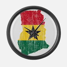 Ghana Flag And Map Large Wall Clock