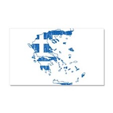 Greece Flag And Map Car Magnet 20 x 12
