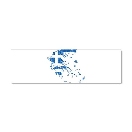 Greece Flag And Map Car Magnet 10 x 3