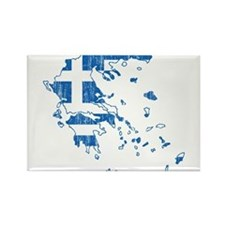 Greece Flag And Map Rectangle Magnet