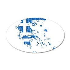 Greece Flag And Map Wall Decal