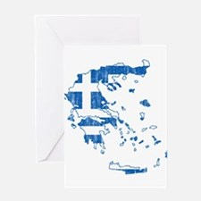 Greece Flag And Map Greeting Card