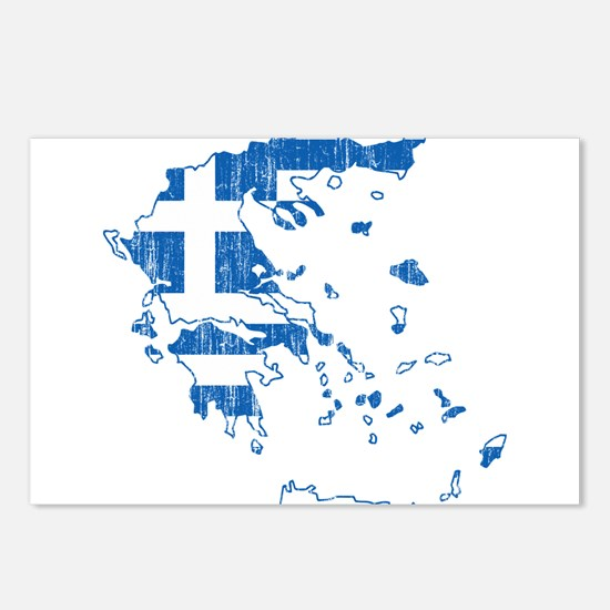 Greece Flag And Map Postcards (Package of 8)