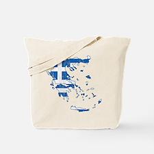 Greece Flag And Map Tote Bag