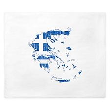 Greece Flag And Map King Duvet