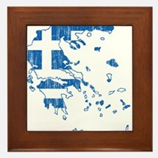 Greece Flag And Map Framed Tile