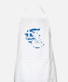 Greece Flag And Map Apron