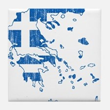 Greece Flag And Map Tile Coaster