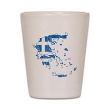 Greece Flag And Map Shot Glass