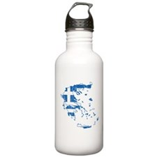Greece Flag And Map Sports Water Bottle