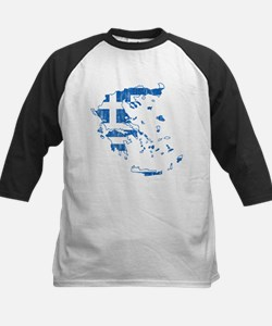 Greece Flag And Map Kids Baseball Jersey