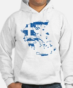 Greece Flag And Map Hoodie