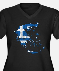 Greece Flag And Map Women's Plus Size V-Neck Dark