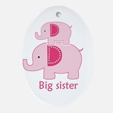 Big Sister Pink Elephant Ornament (Oval)