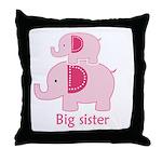 Big Sister Pink Elephant Throw Pillow