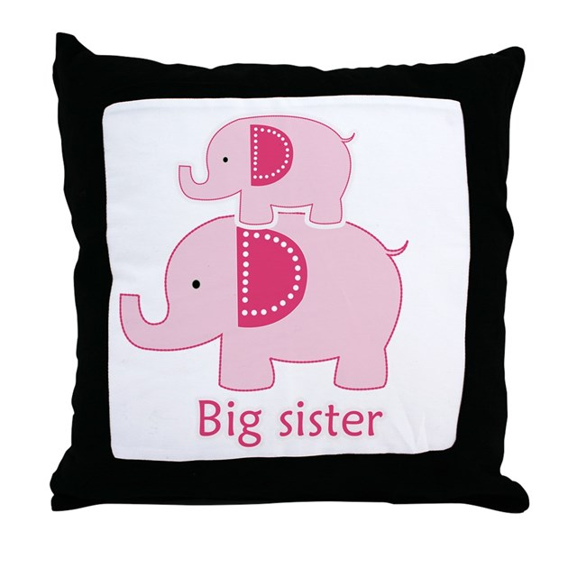 Big Sister Pink Elephant Throw Pillow by artbyjessie