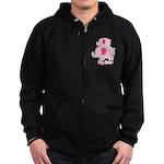 Big Sister Pink Elephant Zip Hoodie (dark)