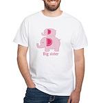 Big Sister Pink Elephant White T-Shirt