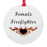 Female Firefighter Tattoo Round Ornament