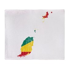 Grenada Flag And Map Throw Blanket