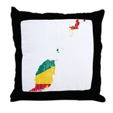 Grenada Flag And Map Throw Pillow