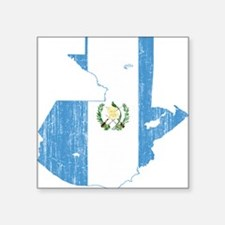 "Guatemala Flag And Map Square Sticker 3"" x 3"""