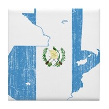 Guatemala Flag And Map Tile Coaster