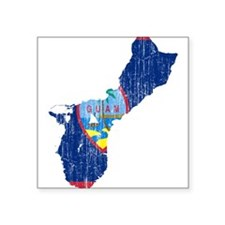 """Guam Flag And Map Square Sticker 3"""" x 3"""""""