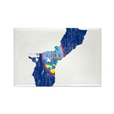 Guam Flag And Map Rectangle Magnet