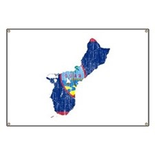 Guam Flag And Map Banner