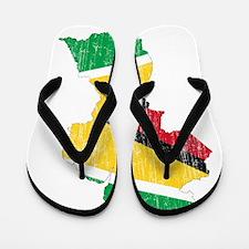 Guyana Flag And Map Flip Flops