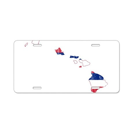 Hawaii Flag And Map Aluminum License Plate