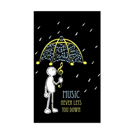 Music Never Lets You Down Sticker (Rectangle)