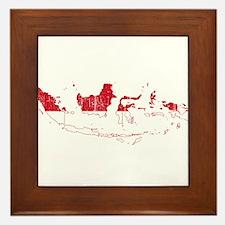 Indonesia Flag And Map Framed Tile