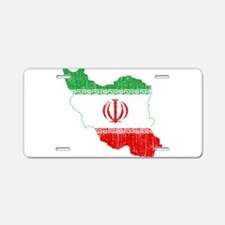 Iran Flag And Map Aluminum License Plate