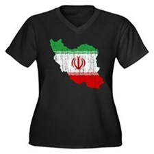 Iran Flag And Map Women's Plus Size V-Neck Dark T-