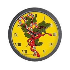 Candy Canes and Holly Wall Clock