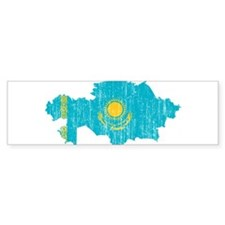 Kazakhstan Flag And Map Bumper Sticker
