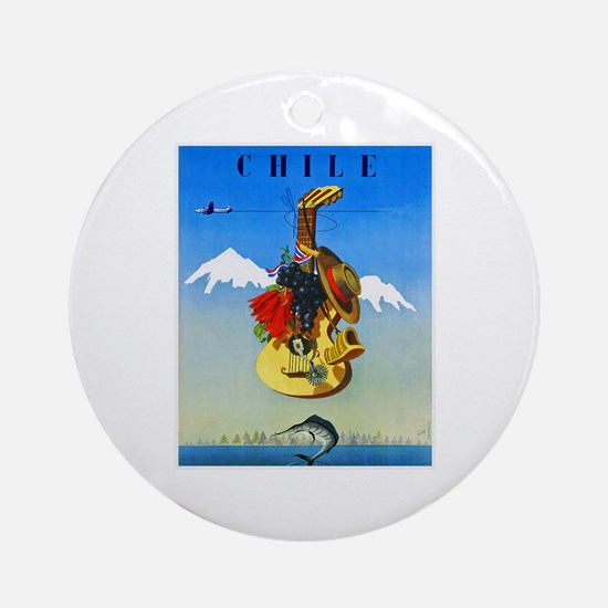 Chile Travel Poster 1 Ornament (Round)