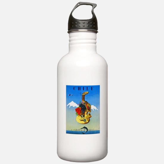 Chile Travel Poster 1 Water Bottle