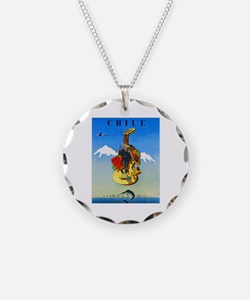 Chile Travel Poster 1 Necklace