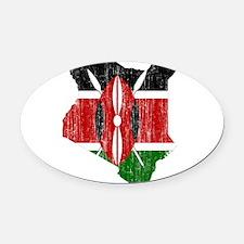Kenya Flag And Map Oval Car Magnet
